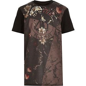 Boys black floral print t-shirt