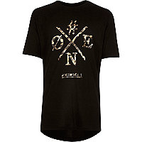 Boys black animal print t-shirt