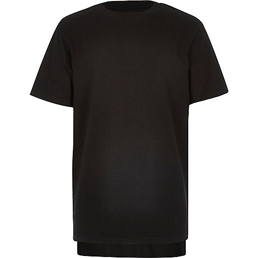 Boys black textured front t-shirt