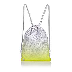 Boys bright yellow faded drawstring bag