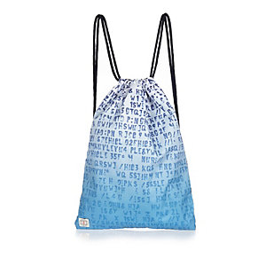 Boys blue faded letter drawstring bag