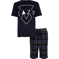 Ensemble pyjama à carreaux bleu imprimé «lazy» pour garçon