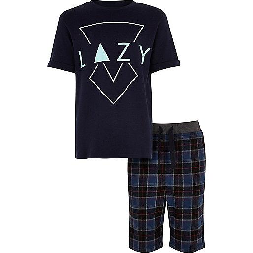 Boys blue lazy check pajama set