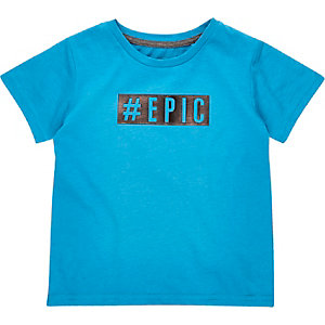 Mini boys blue epic slogan t-shirt