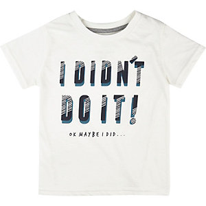 Mini boys white slogan print t-shirt