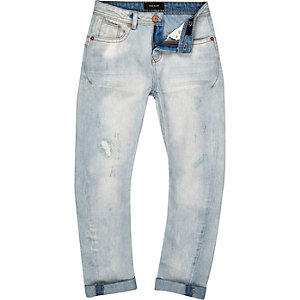 Boys light wash Chester tapered jeans