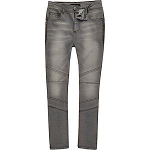 Boys light grey biker skinny jeans