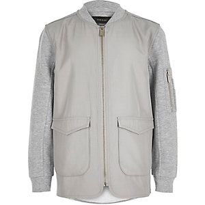 Boys grey contrast body bomber jacket