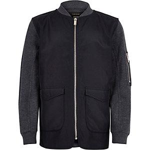 Boys blue contrast body bomber jacket