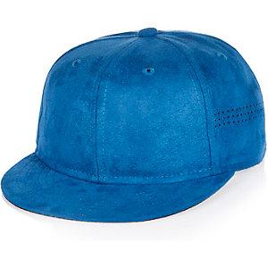 Boys bright blue faux suede cap