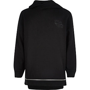 Boys black zip hem hoodie