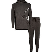 Boys dark hoodie joggers lounge set