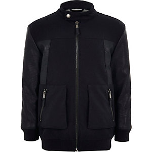 Boys navy leather-look panel bomber jacket