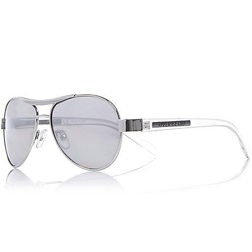 Silberne Pilotensonnenbrille