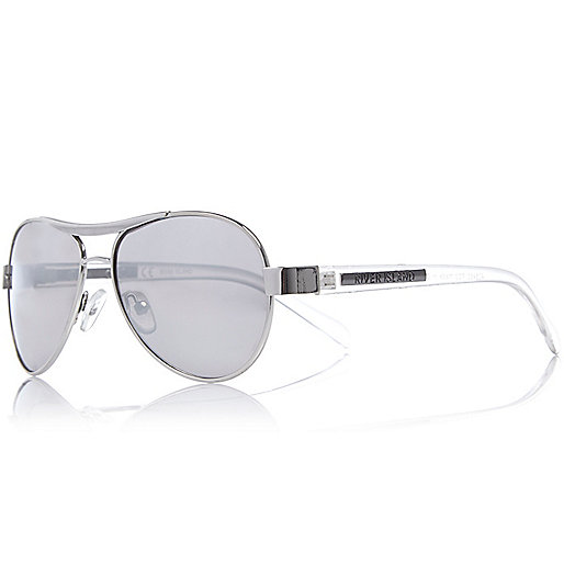 Boys silver tone aviator-style sunglasses