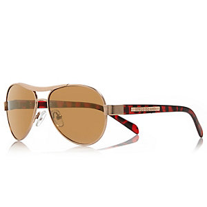 Boys brown tortoise aviator-style sunglasses