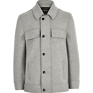 Boys grey structured trucker jacket