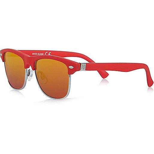 Boys red mirror flat top sunglasses