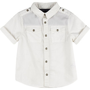 Mini boys white short sleeve shirt