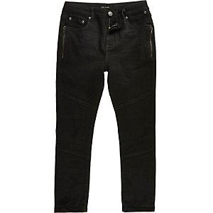 Boys black zip side Sid skinny jeans