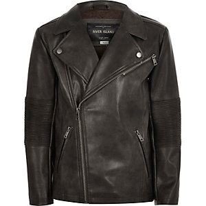 Boys washed black leather-look biker jacket