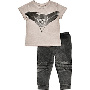 Mini boys grey skull t-shirt leggings outfit