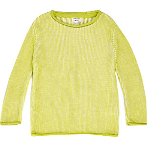 Mini boys lime green ribbed sweater