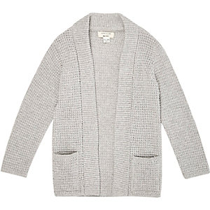 Mini boys grey waffle knit cardigan