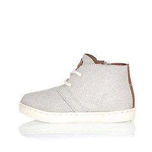 Mini boys grey faux suede boots