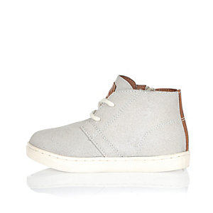 Mini boys grey faux suede boots