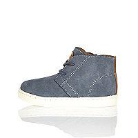 Mini boys blue faux suede boots