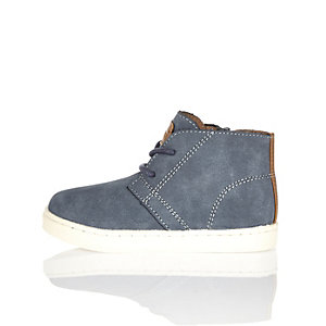 Mini boys blue faux suede boots