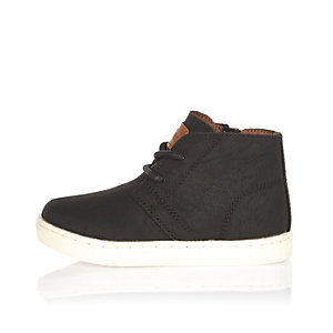 Mini boys black faux suede boots