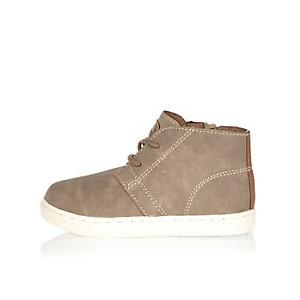 Mini boys beige faux suede boots