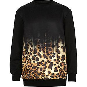 Boys black faded leopard print sweatshirt