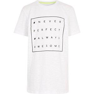 Boys white slogan print t-shirt