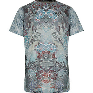 Boys grey tapestry print t-shirt
