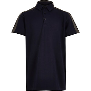 Boys textured block panel polo shirt