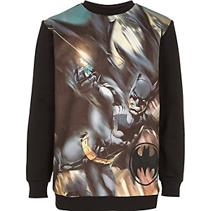 Boys black Batman print sweatshirt