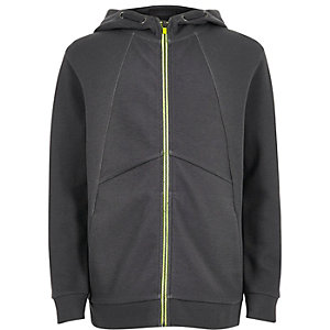 Boys dark grey zip-up hoodie