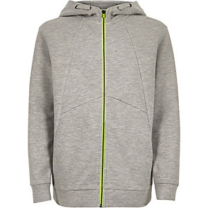 Boys light grey zip-up hoodie