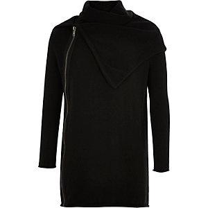 Black zip front cowl neck sweater
