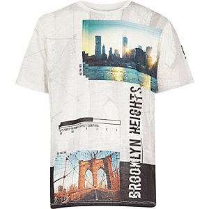 Boys white Brooklyn Heights print t-shirt
