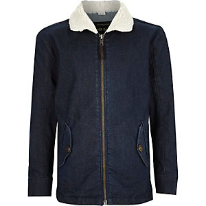 Boys blue denim fleece collar jacket