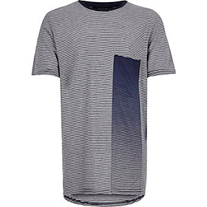 Boys blue stripe faded pocket t-shirt
