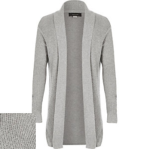Boys light grey open front cardigan