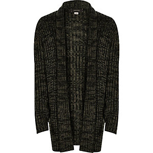 Boys khaki ribbed open cardigan