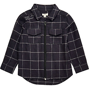 Mini boys navy check shirt