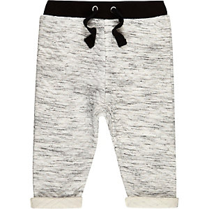 Mini boys cream quilted joggers