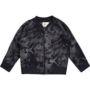 Mini boys black printed bomber jacket